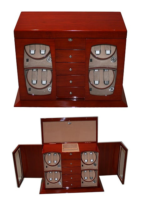 Wooden Eight-slot Watch Winder with Five Drawers and AC Adapter
