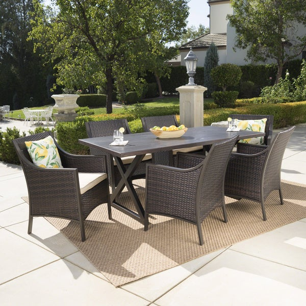 Dia Outdoor 7-piece Rectangular Wicker Aluminum Dining Set with Cushions by Christopher Knight Home -  302513