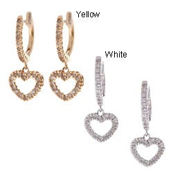 14k Gold 1/2ct TDW Diamond Heart Dangle Earrings (K, SI1-SI2)