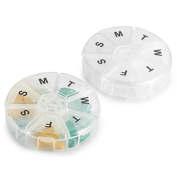 MEDca Weekly Pill Organizer Large Round Travel Monday to Sunday Compartments 30917114