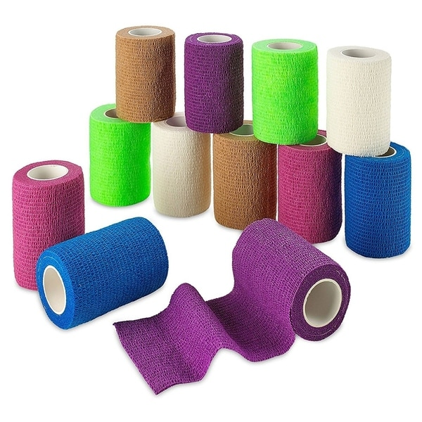 MEDca Self Adherent Cohesive Wrap Bandages FDA Approved 12 Rolls Rainbow Color 30917252