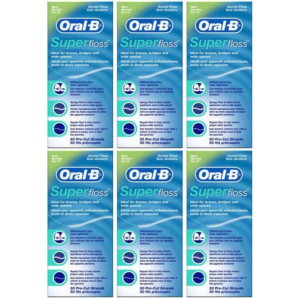 Oral-B Super Floss 50 Pre-Cut Strands Each (Pack of 6) -  Procter & Gamble, 1080042573