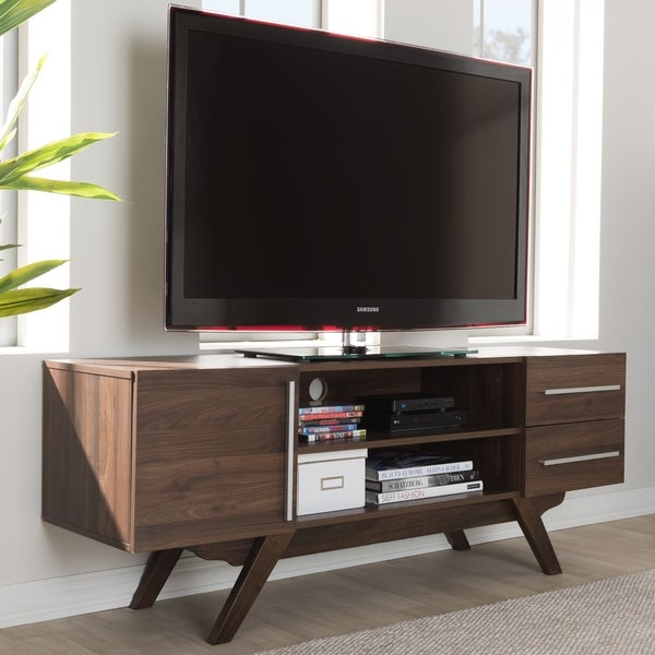 Mid-Century Walnut Brown Finished Wood TV Stand by Baxton Studio 31037363