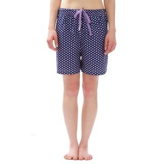 Leisureland Polka Dot Cotton Poplin Pajama Lounge Boxer Shorts Blue