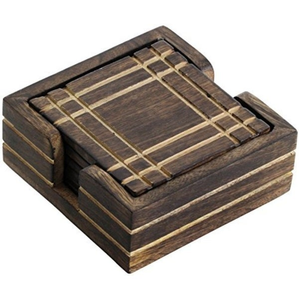 """Coaster - Wooden Drink Coaster with Holder - 4"""" (Set of 4) 31046772"""