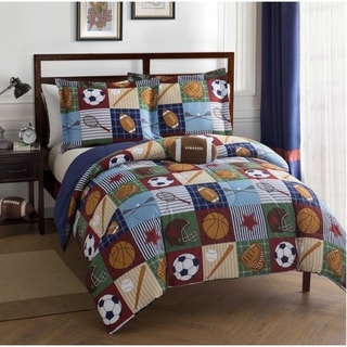 Team Sport Collegiate 4-Piece Comforter Set Featuring Football Shaped Decorative Pillow