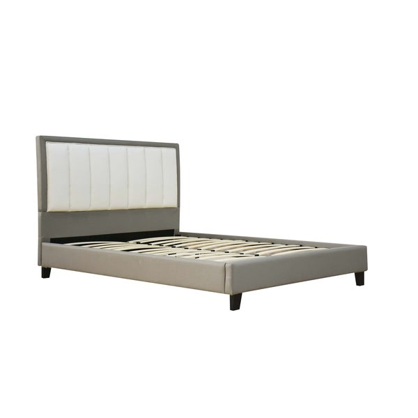 ACME Filart Queen Bed in Gray and Cream Faux Leather 31058653