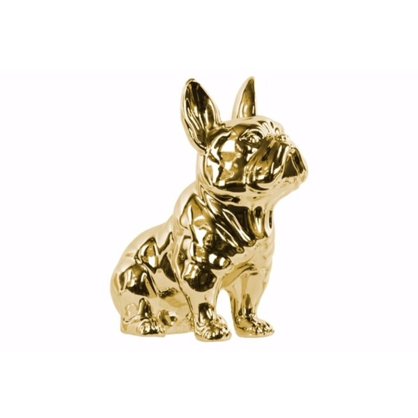 Sitting French Bulldog Figurine with Pricked Ears - Gold 31071750