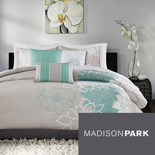 Madison Park Brianna Blue Cotton Duvet Cover Set