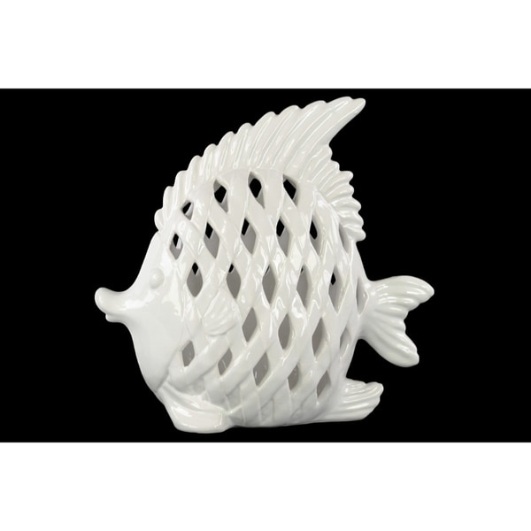 Tropical Angel Fish Figurine With Diagonal Cutout Design - White 31072856