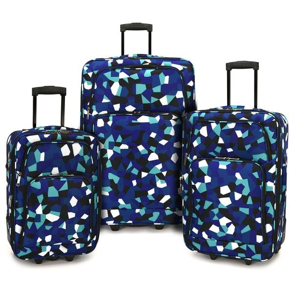 Elite Luggage Blue Geo 3-piece Expandable Rolling Luggage Set 31075310