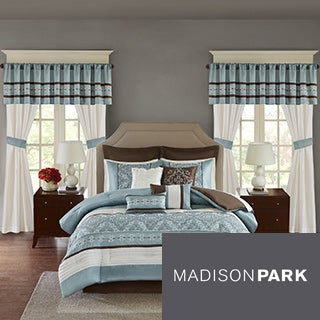 Madison Park Essentials Katarina Blue 24-Piece Room In A Bag-Window Panel & Sheet Set Included