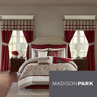 Madison Park Essentials Katarina Red 24-Piece Complete Bed Set -- Window Panels & Sheet Set Included