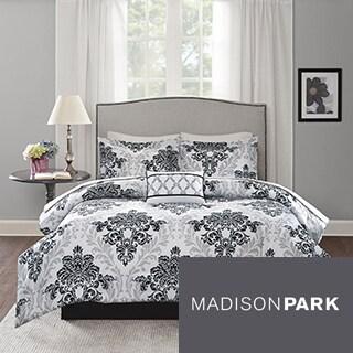 Madison Park Essentials Hayley Black/Grey Complete Bed Set-Sheet Set Included