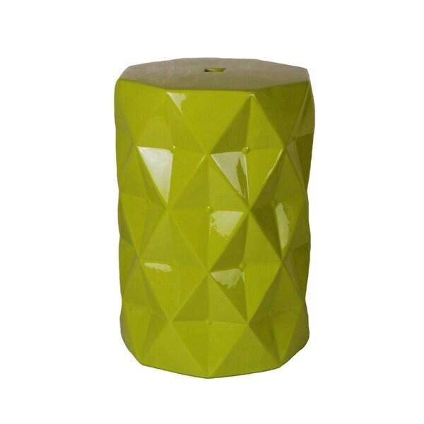 Shimmering Ceramic Garden Stool, Green 31097193