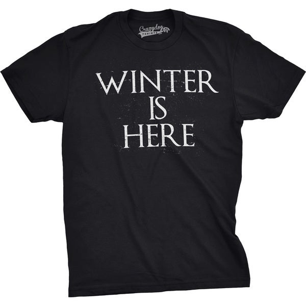 Mens Winter Is Here Funny T shirts Nerdy Christmas Tees Cool Novelty T shirt 31110018