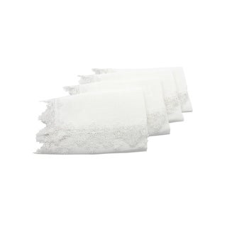 Victorian Lace Trim Napkins, 20 by 20-Inch, Set of 4, White