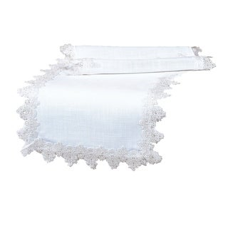 Victorian Lace Trim Table Runner, 16 by 36-Inch, White