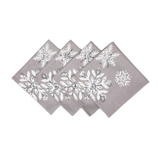 Glistening Snow Christmas Napkins, 18 by 18-Inch, Set of 4