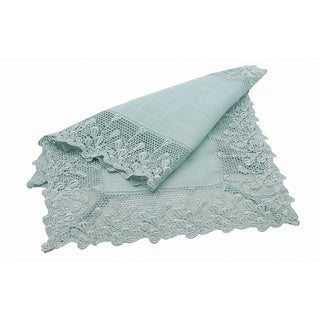 Garden Trellece Lace Trim Table Runner, 16 by 36-Inch, Reflecting Pond Blue