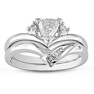 Miadora 14k White Gold 3/8ct TDW Trillion Cut 2-Piece Diamond Ring Set with Bonus Earrings