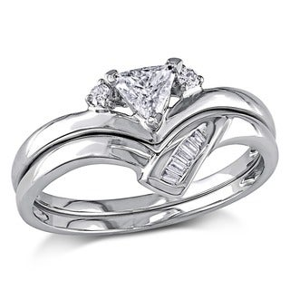Miadora 14k White Gold 3/8ct TDW Trillion Cut 2-Piece Diamond Ring Set