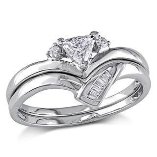 Miadora 14k White Gold 3/8ct TDW Trillion Cut 2-Piece Diamond Ring Set