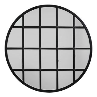 Alden Décor Round Metal Grid Mirror with Paned Beveled Glass - Black