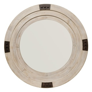 Alden Décor Foreman Mirror in White Washed Wood - White Washed