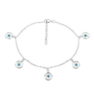 Handmade Mystic Dangle Dreamcatcher with Turquoise Sterling Silver Anklet (Thailand)