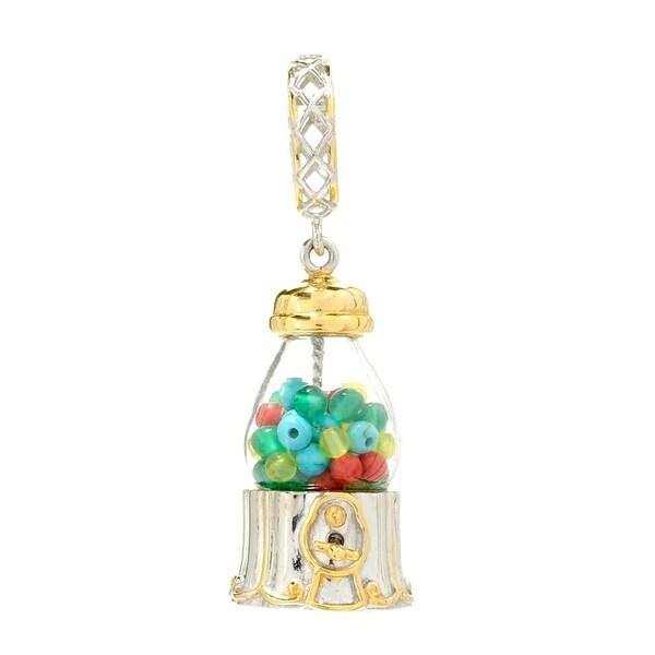 Michael Valitutti Palladium Silver Multi Gemstone Glass Dome Gumball Machine Drop Charm 31137315