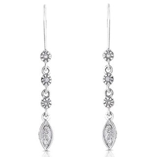 Annello 14k White Gold Diamond Leaf Dangle Earrings