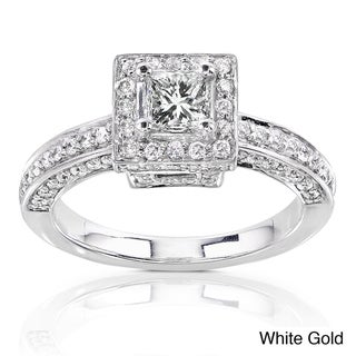 Annello 14k Gold 1ct TDW Diamond Princess Halo Engagement Ring (H-I, I1-I2)