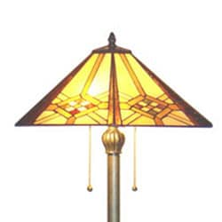 Tiffany-style Hex Mission Floor Lamp