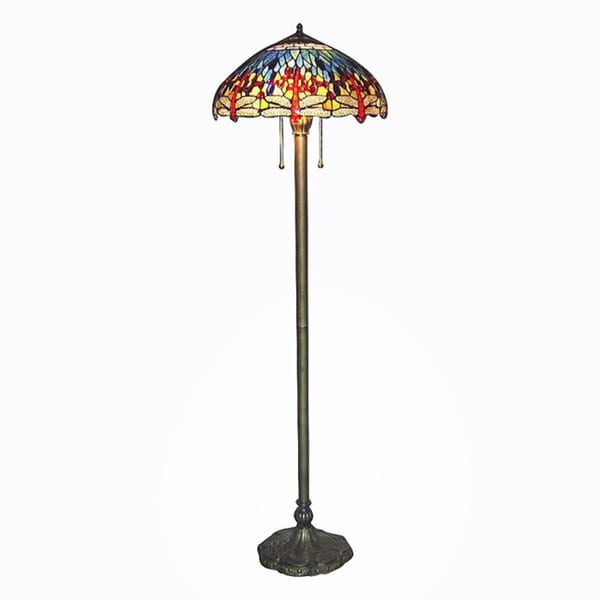 Tiffany style blue dragonfly floor lamp 10189208 for Overstock tiffany floor lamp