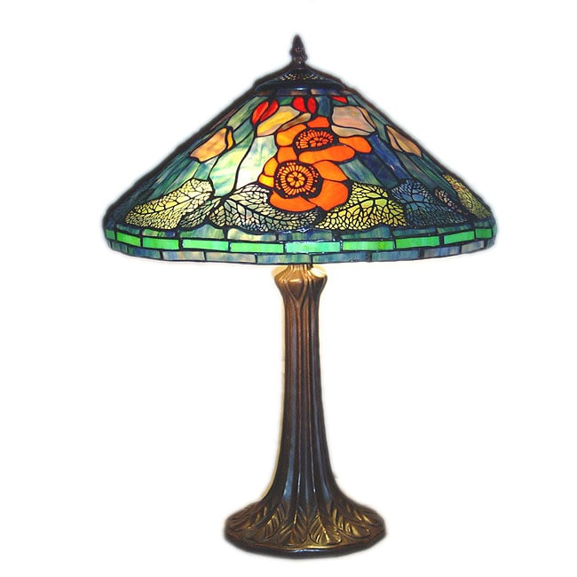tiffany style golden poppy table lamp 10189216. Black Bedroom Furniture Sets. Home Design Ideas