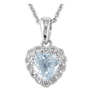 Miadora 14k White Gold Aquamarine and Diamond Accent Heart Necklace