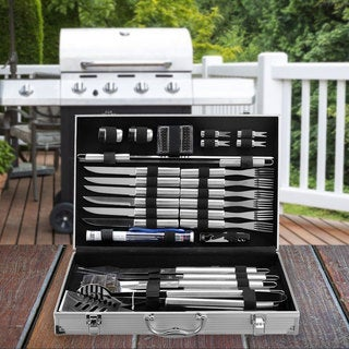 Cheer Collection 30 Piece BBQ Set with Aluminum Case