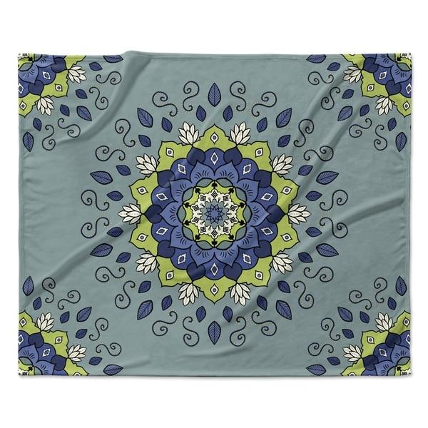 "KESS InHouse Cristina Bianco Design ""Blu&Green Mandala"" Fleece Blanket 31192952"