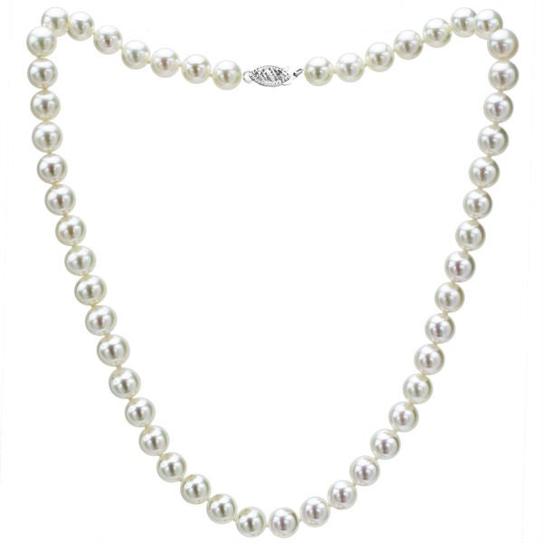 DaVonna 14k White Gold Akoya Pearl High Luster 18-inch Necklace (6.5-7 mm)