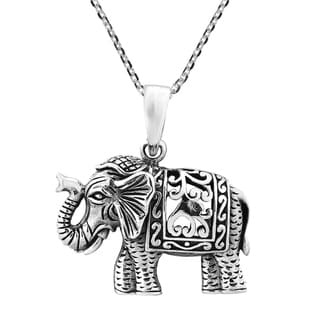 Handmade Intricately Regal and Majestic Elephant Sterling Silver Necklace (Thailand)