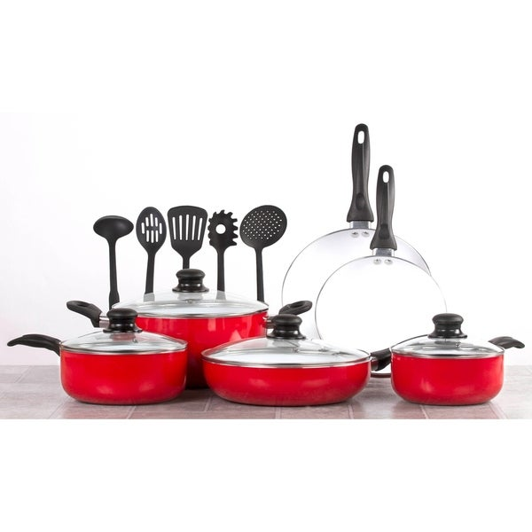 15 Piece Ceramic Cookware Set - Cooking Set W/Cooking Utensils - Red