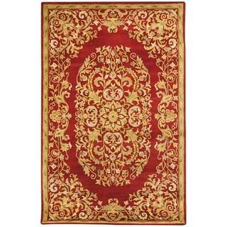 Handmade Heritage Red Wool Rug (4' x 6')