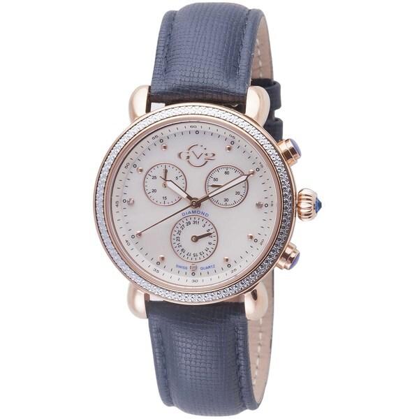 GV2 Women's Swiss Quartz Diamond Chronograph Blue Leather Strap Watch 31247810