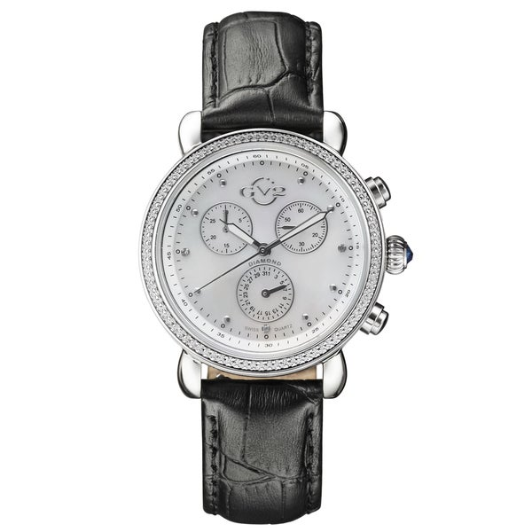 GV2 Women's Swiss Quartz Diamond Chronograph Black Leather Strap Watch 31247851