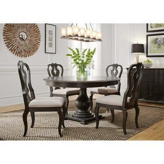 Chesapeake Wire Brushed Antique Black 5-piece Pedestal Table Set
