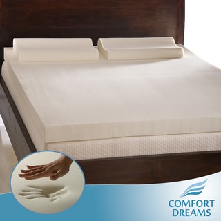 Comfort Dreams 4-inch Queen/ King-size Memory Foam Mattress Topper/ Contour Pillow Set