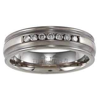 Men's Titanium and Silver Channel 1/4ct TDW Diamond Ring (H-I, I3)