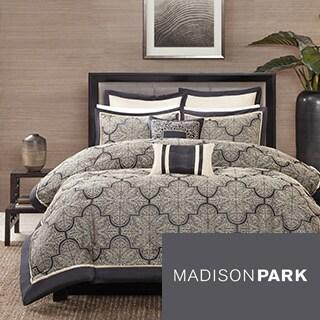 Madison Park Burton Black Jacquard 8-piece Comforter Set
