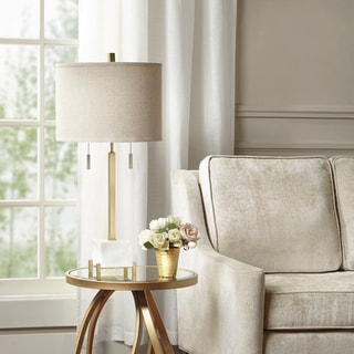 Colliers White/ Gold Table Lamp with Natural Drum Shade by Hampton Hill